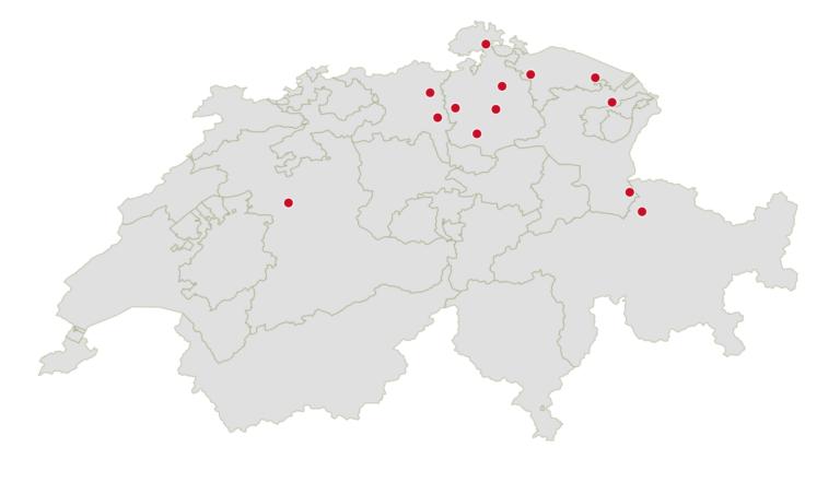 Schweizer Karte mit Eat Your Sticks Standorten